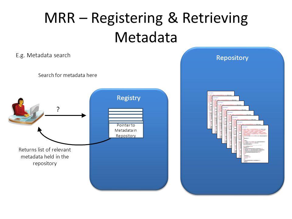 MRR – Registering & Retrieving Metadata Repository Search for metadata here E.g. Metadata search Returns list of relevant metadata held in the reposit
