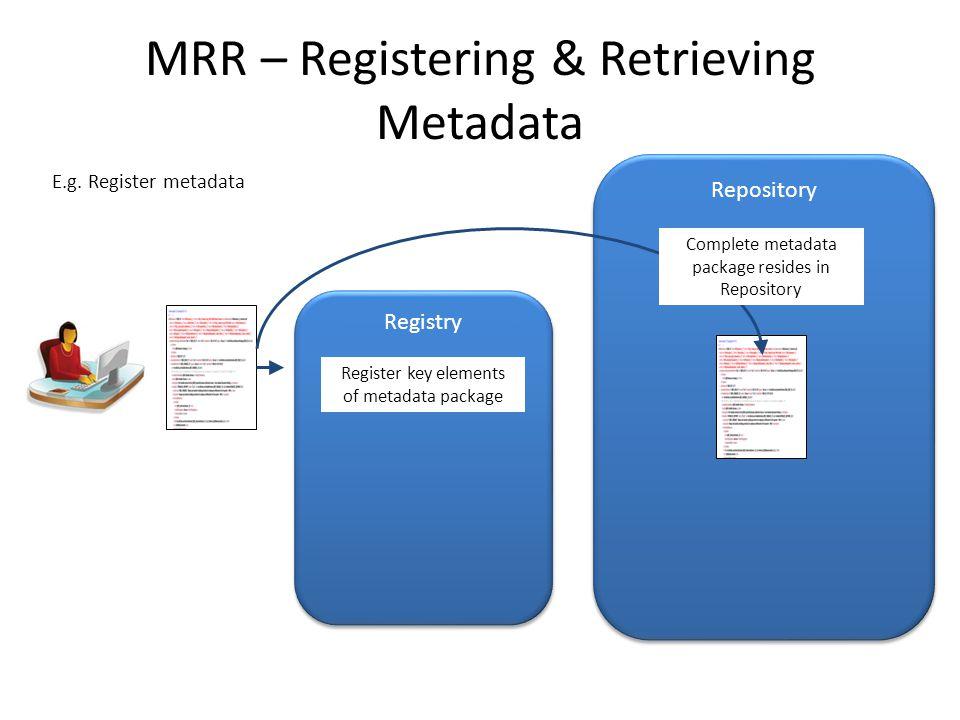 MRR – Registering & Retrieving Metadata Registry Repository Register key elements of metadata package E.g. Register metadata Complete metadata package