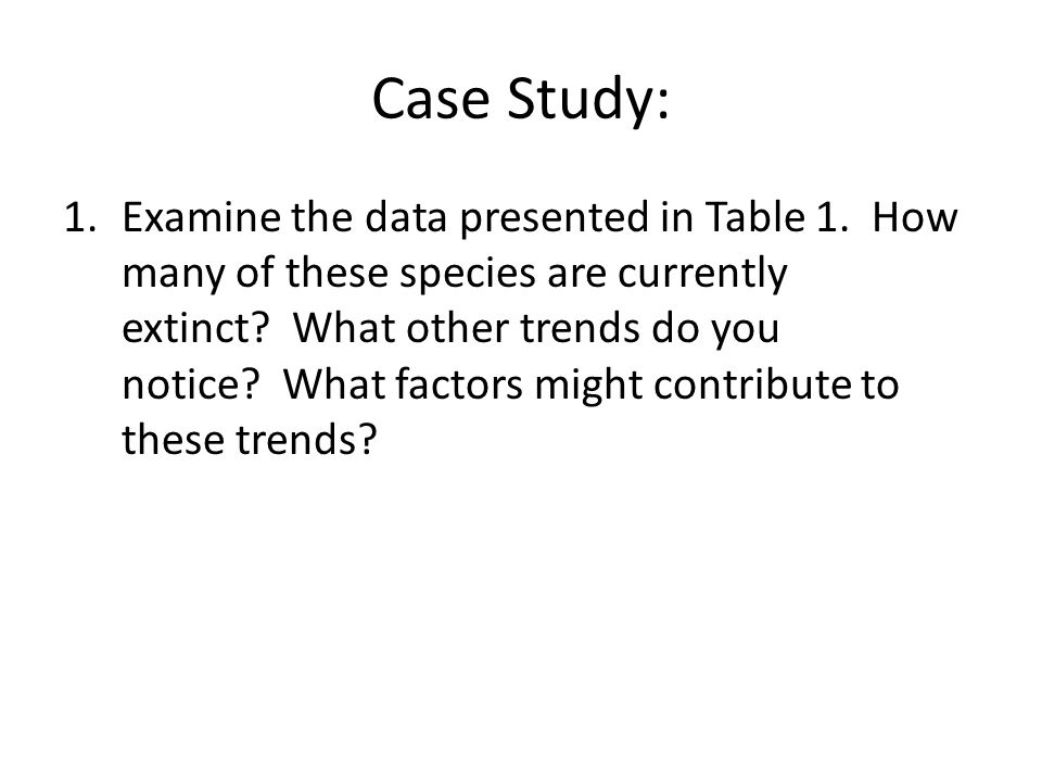 Case Study: 1.Examine the data presented in Table 1.