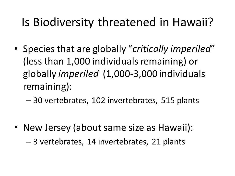 Is Biodiversity threatened in Hawaii.