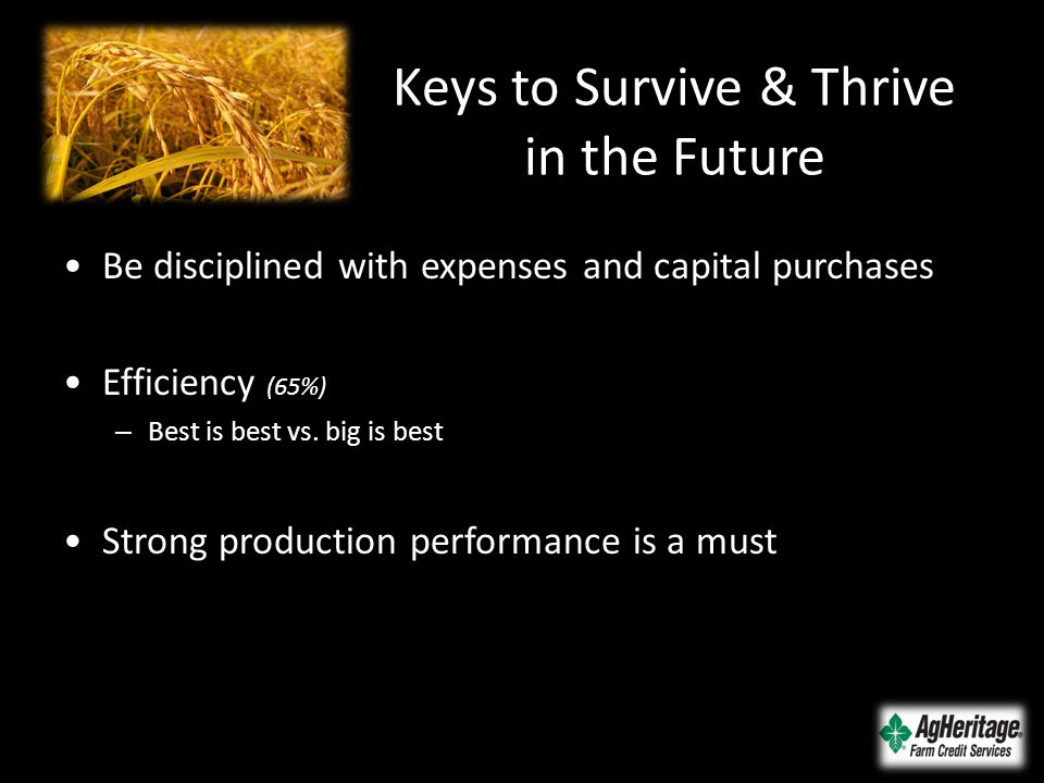 Keys to Survive & Thrive in the Future Be disciplined with expenses and capital purchases Efficiency (65%) – Best is best vs.