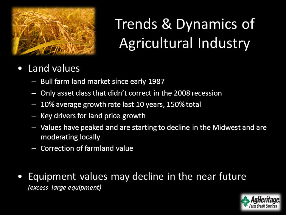 Trends & Dynamics of Agricultural Industry Land values – Bull farm land market since early 1987 – Only asset class that didn't correct in the 2008 rec