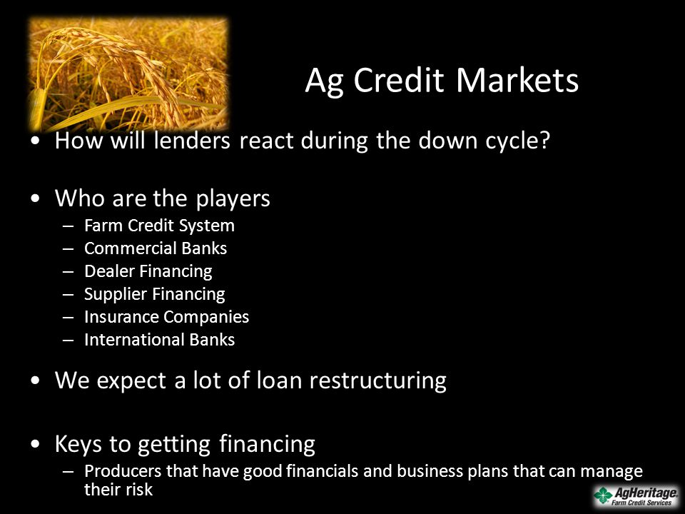 Ag Credit Markets How will lenders react during the down cycle? Who are the players – Farm Credit System – Commercial Banks – Dealer Financing – Suppl
