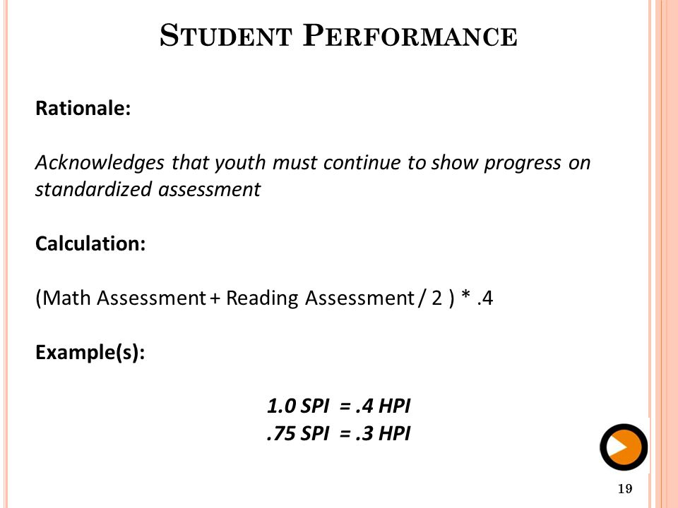 S TUDENT P ERFORMANCE Rationale: Acknowledges that youth must continue to show progress on standardized assessment Calculation: (Math Assessment + Reading Assessment / 2 ) *.4 Example(s): 1.0 SPI =.4 HPI.75 SPI =.3 HPI 19