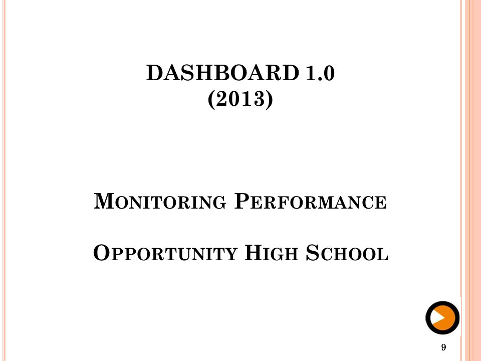 DASHBOARD 1.0 (2013) M ONITORING P ERFORMANCE O PPORTUNITY H IGH S CHOOL 9