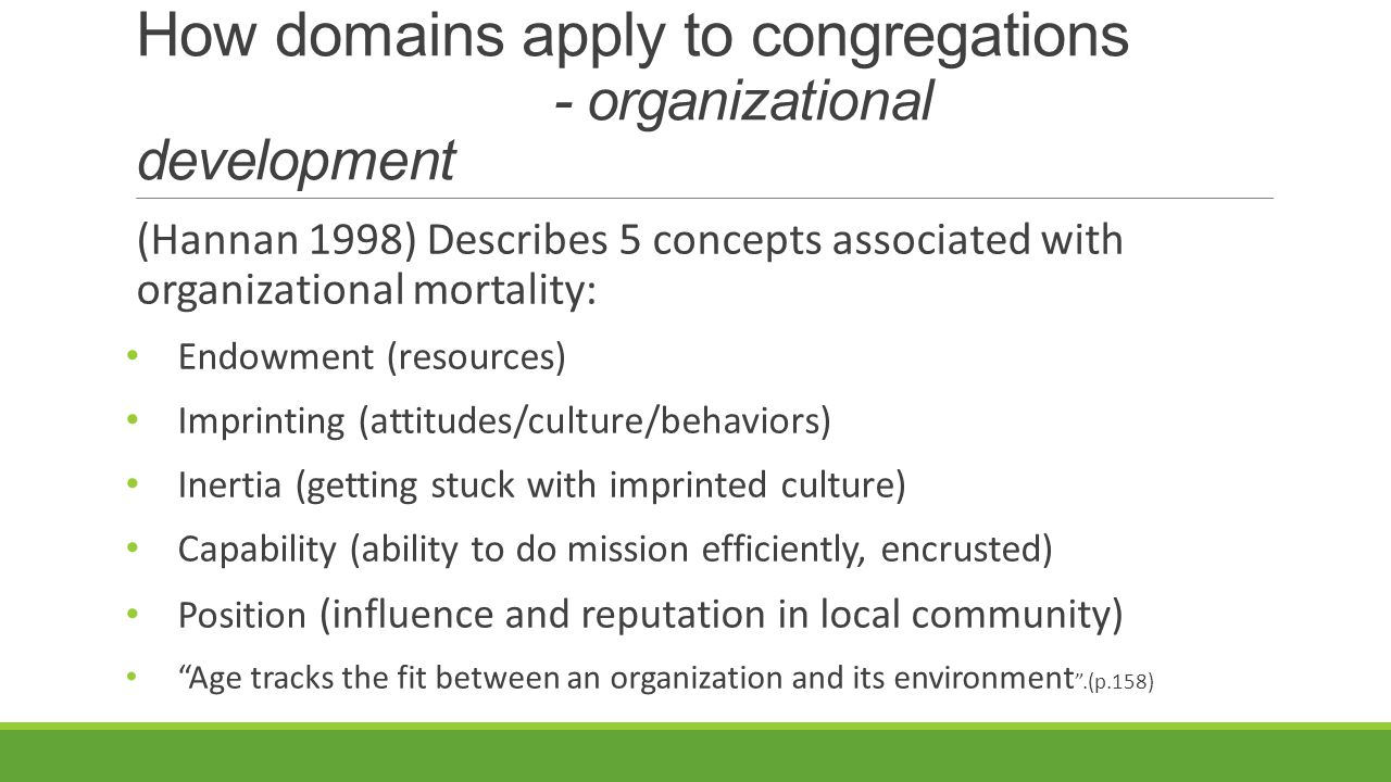How domains apply to congregations - organizational development (Hannan 1998) Describes 5 concepts associated with organizational mortality: Endowment (resources) Imprinting (attitudes/culture/behaviors) Inertia (getting stuck with imprinted culture) Capability (ability to do mission efficiently, encrusted) Position (influence and reputation in local community) Age tracks the fit between an organization and its environment .(p.158)