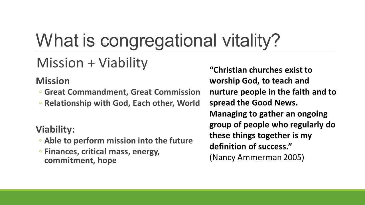 What is congregational vitality.