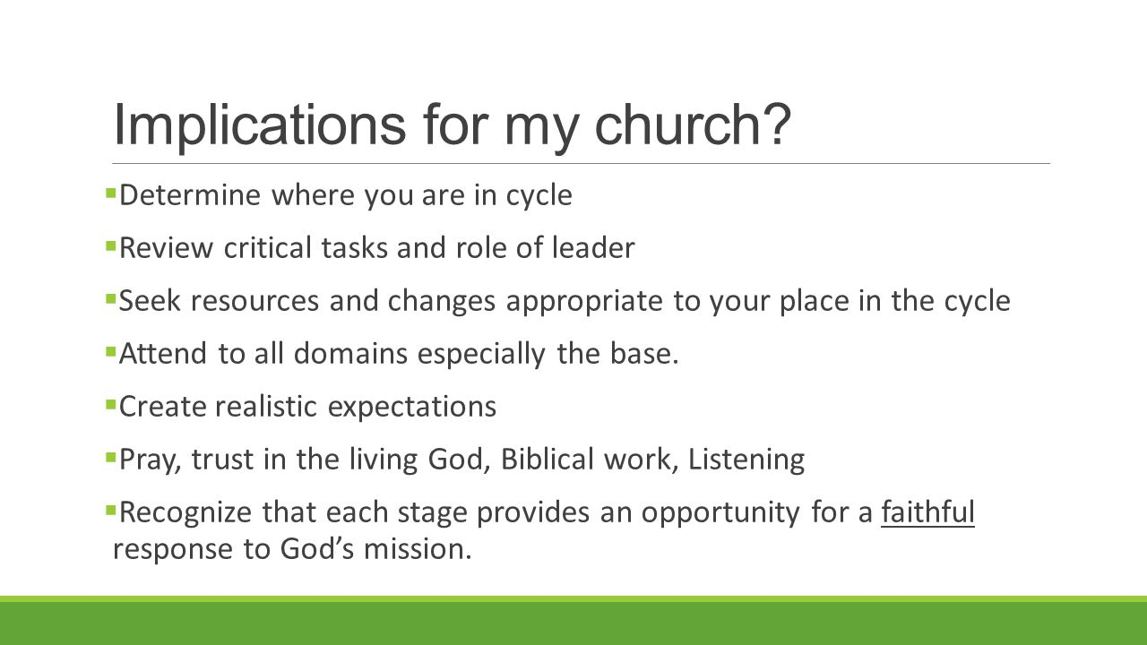 Implications for my church.
