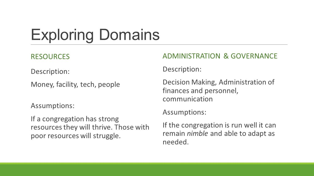 Exploring Domains RESOURCES Description: Money, facility, tech, people Assumptions: If a congregation has strong resources they will thrive.