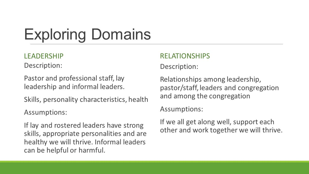 Exploring Domains LEADERSHIP Description: Pastor and professional staff, lay leadership and informal leaders.