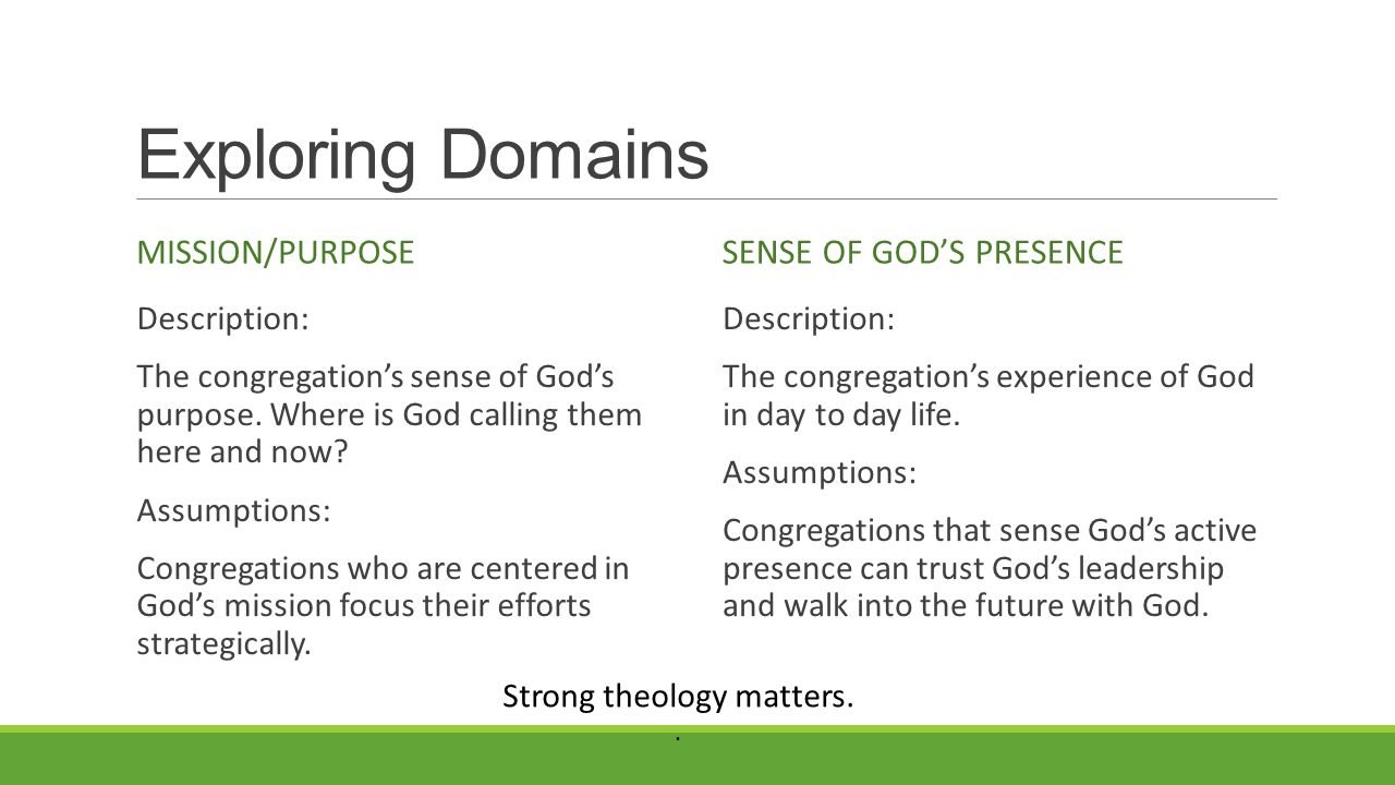 Exploring Domains MISSION/PURPOSE Description: The congregation's sense of God's purpose.