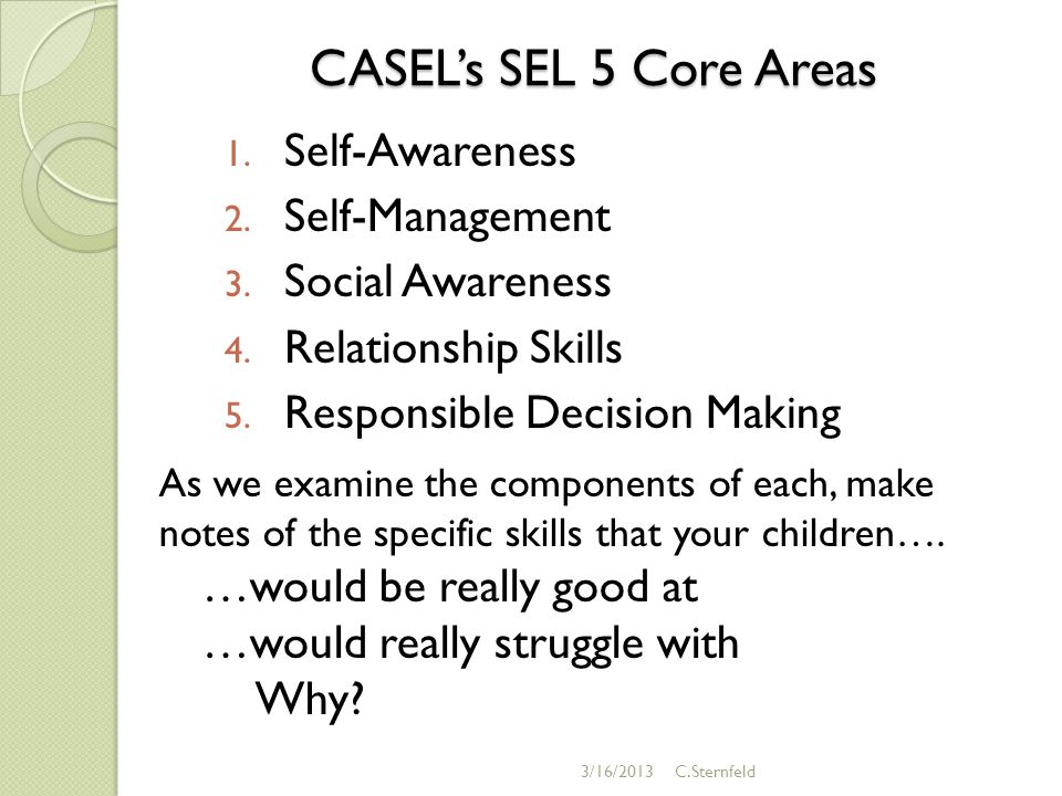 CASEL's SEL 5 Core Areas 1. Self-Awareness 2. Self-Management 3.