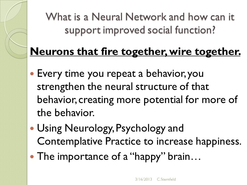 What is a Neural Network and how can it support improved social function.