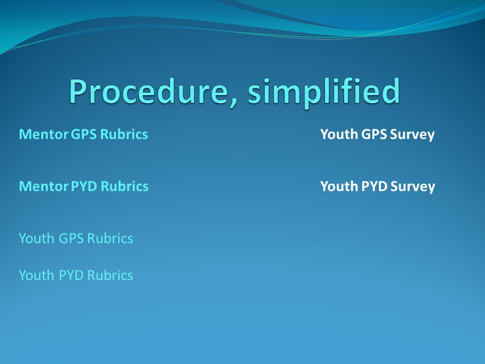 Mentor GPS Rubrics Youth GPS Survey Mentor PYD Rubrics Youth PYD Survey Youth GPS Rubrics Youth PYD Rubrics