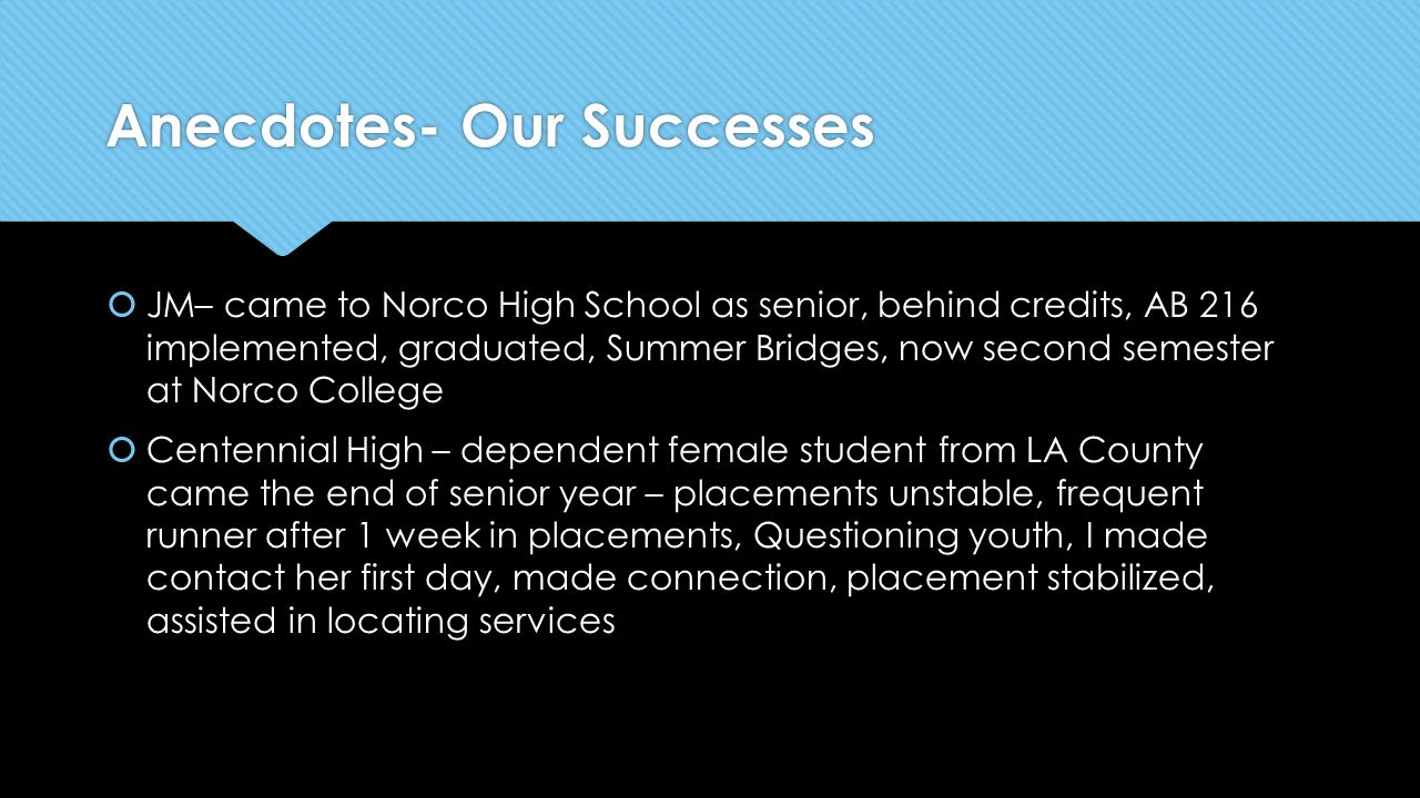 Anecdotes- Our Successes  JM– came to Norco High School as senior, behind credits, AB 216 implemented, graduated, Summer Bridges, now second semester at Norco College  Centennial High – dependent female student from LA County came the end of senior year – placements unstable, frequent runner after 1 week in placements, Questioning youth, I made contact her first day, made connection, placement stabilized, assisted in locating services  JM– came to Norco High School as senior, behind credits, AB 216 implemented, graduated, Summer Bridges, now second semester at Norco College  Centennial High – dependent female student from LA County came the end of senior year – placements unstable, frequent runner after 1 week in placements, Questioning youth, I made contact her first day, made connection, placement stabilized, assisted in locating services