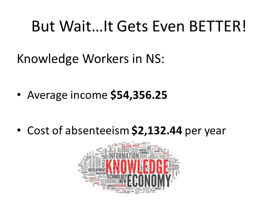 But Wait…It Gets Even BETTER! Knowledge Workers in NS: Average income $54,356.25 Cost of absenteeism $2,132.44 per year