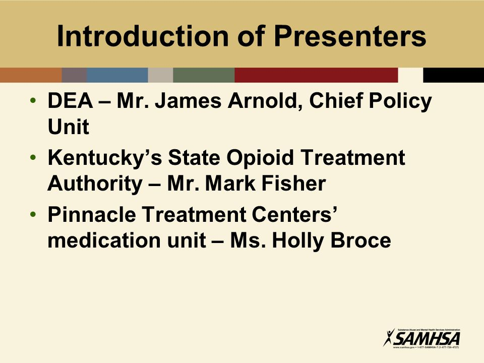 Introduction of Presenters DEA – Mr.