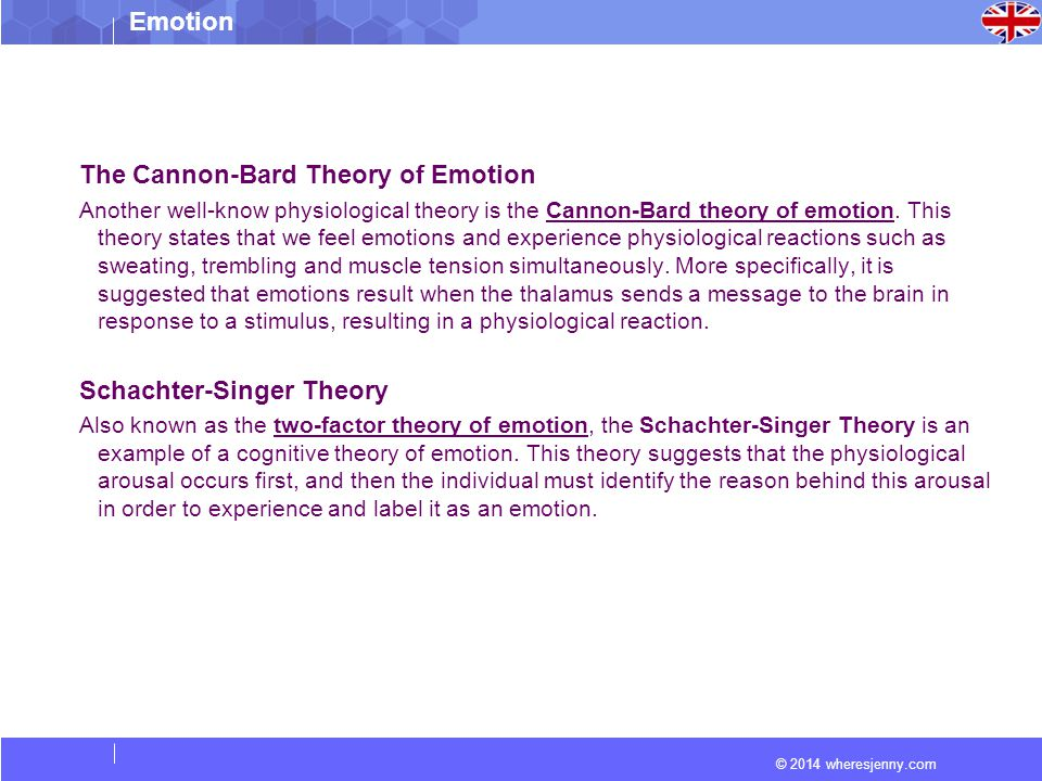 © 2014 wheresjenny.com Emotion The Cannon-Bard Theory of Emotion Another well-know physiological theory is the Cannon-Bard theory of emotion.