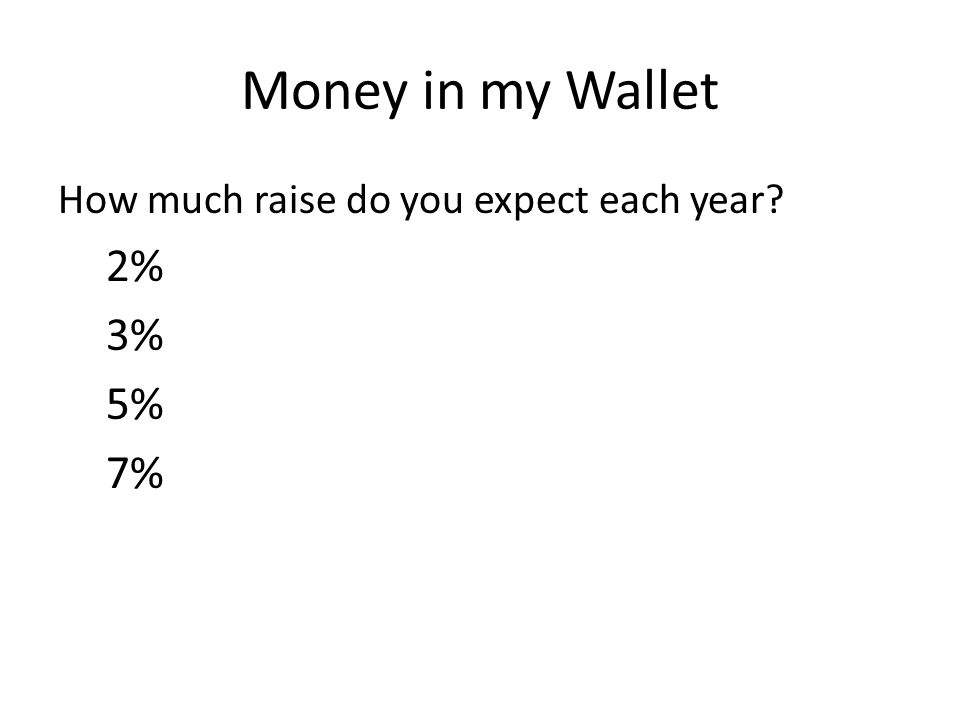 Money in my Wallet How much raise do you expect each year? 2% 3% 5% 7%
