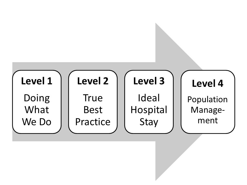 Level 1 Doing What We Do Level 2 True Best Practice Level 3 Ideal Hospital Stay Level 4 Population Manage- ment