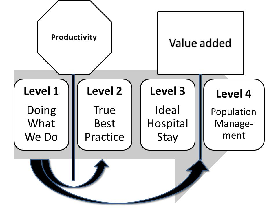 Level 1 Doing What We Do Level 2 True Best Practice Level 3 Ideal Hospital Stay Level 4 Population Manage- ment Value added