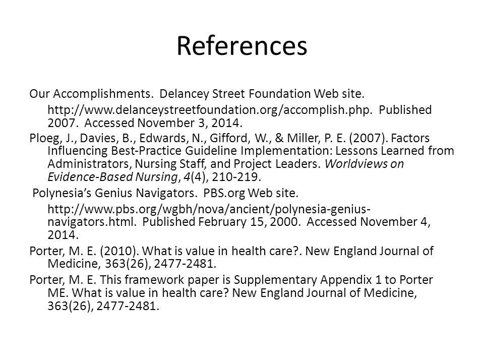 References Our Accomplishments. Delancey Street Foundation Web site. http://www.delanceystreetfoundation.org/accomplish.php. Published 2007. Accessed