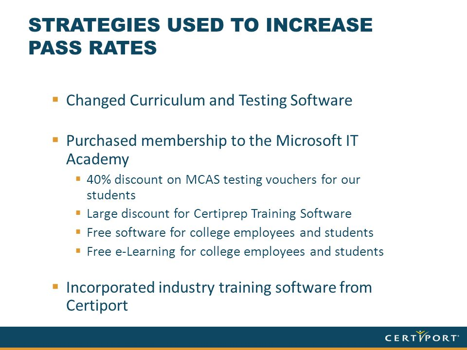 STRATEGIES USED TO INCREASE PASS RATES  Changed Curriculum and Testing Software  Purchased membership to the Microsoft IT Academy  40% discount on MCAS testing vouchers for our students  Large discount for Certiprep Training Software  Free software for college employees and students  Free e-Learning for college employees and students  Incorporated industry training software from Certiport