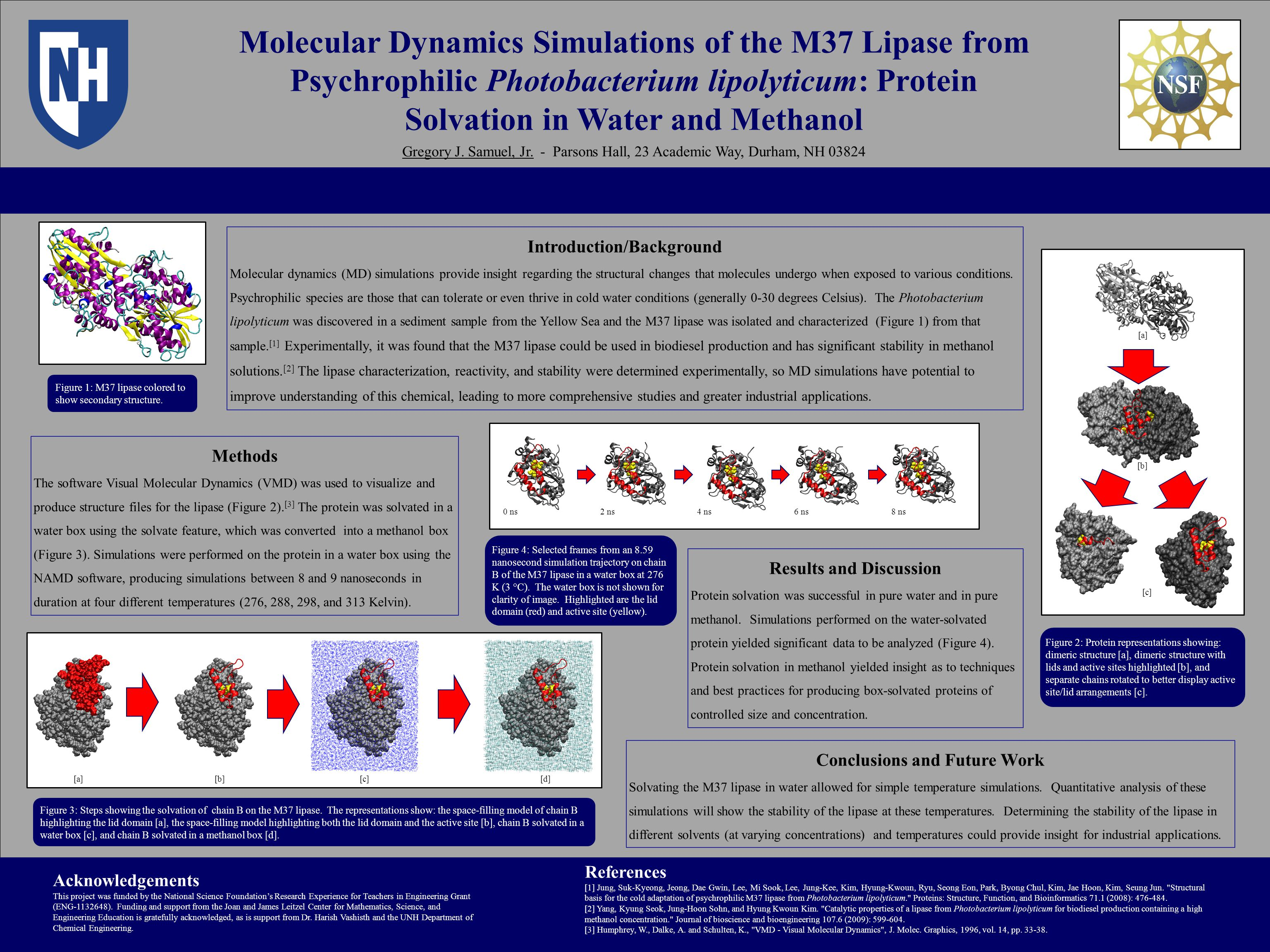Molecular Dynamics Simulations of the M37 Lipase from Psychrophilic Photobacterium lipolyticum: Protein Solvation in Water and Methanol Gregory J.