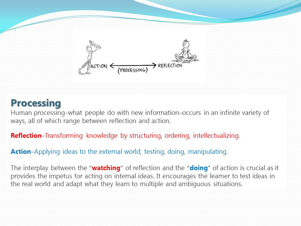 Processing Human processing – what people do with new information – occurs in an infinite variety of ways, all of which range between reflection and action.