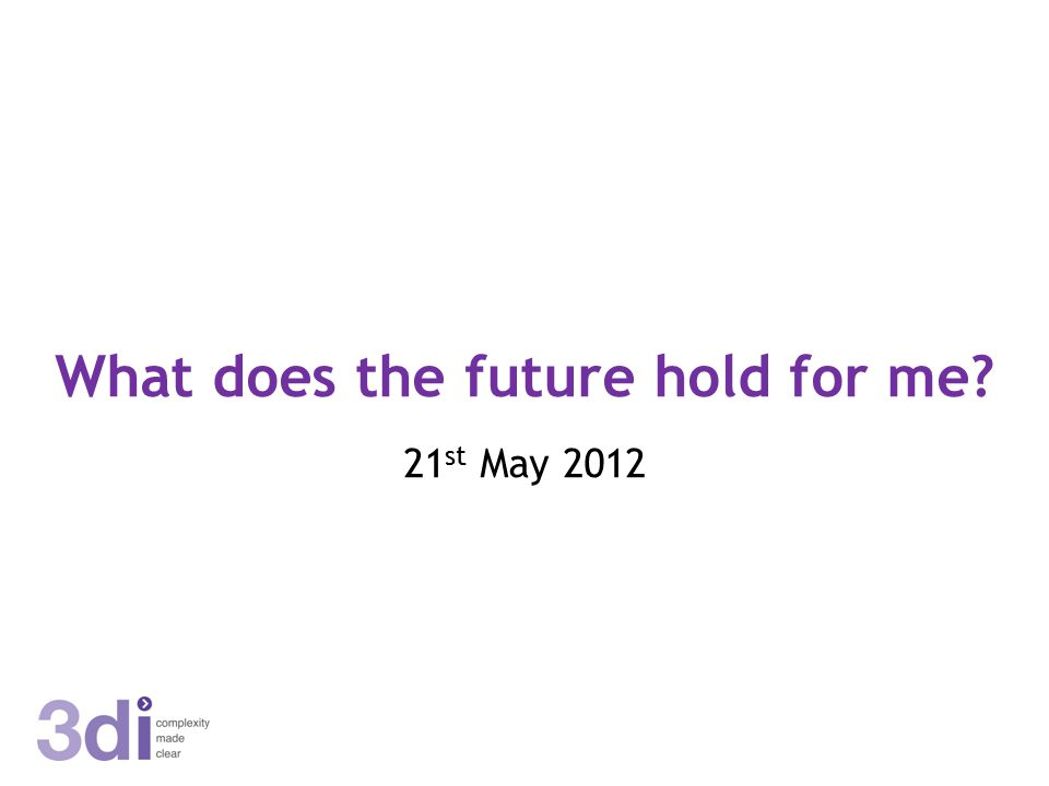 What does the future hold for me? 21 st May 2012
