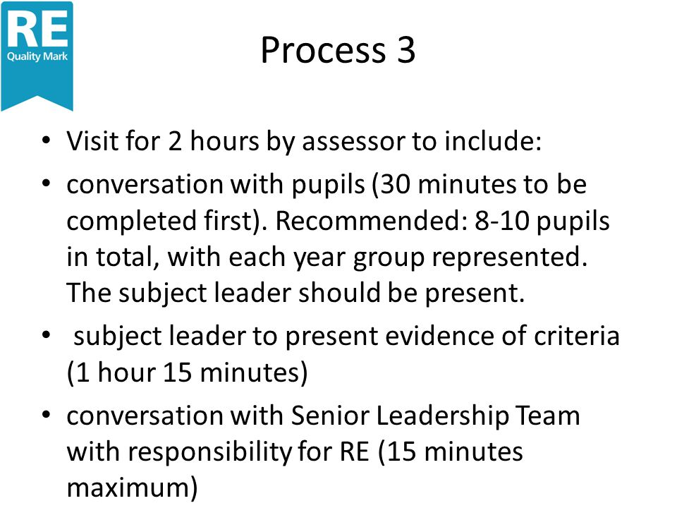 Process 3 Visit for 2 hours by assessor to include: conversation with pupils (30 minutes to be completed first).