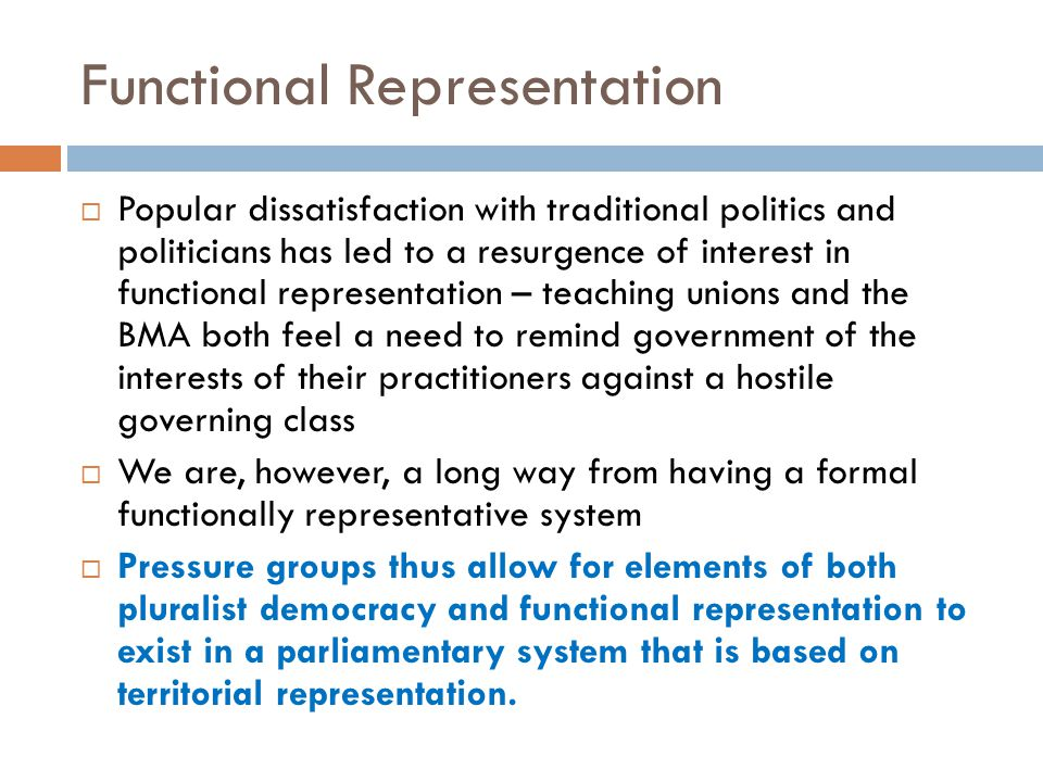 Functional Representation  Popular dissatisfaction with traditional politics and politicians has led to a resurgence of interest in functional repres