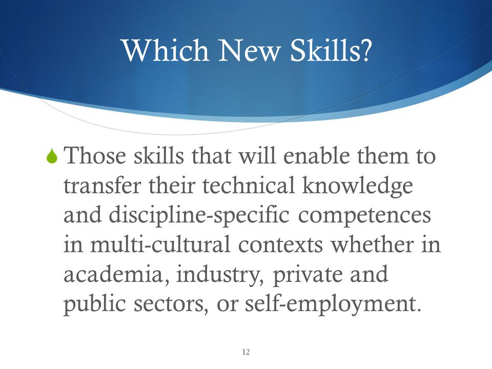 Which New Skills.