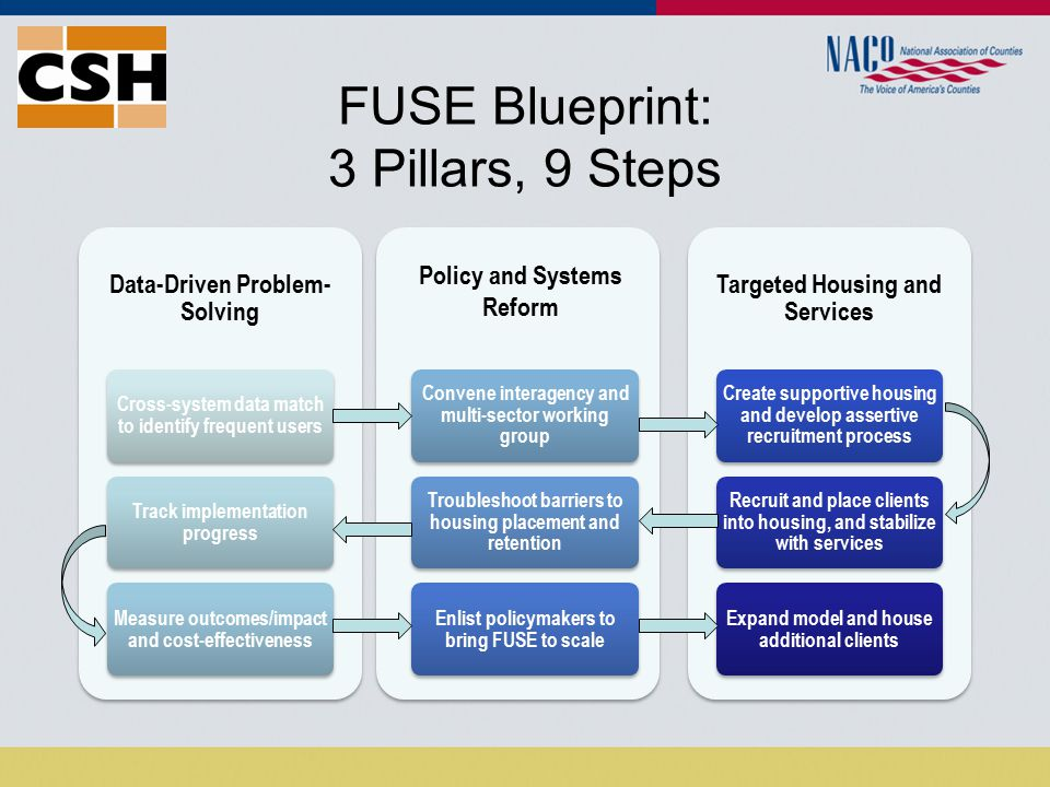 FUSE Blueprint: 3 Pillars, 9 Steps Data-Driven Problem- Solving Cross-system data match to identify frequent users Track implementation progress Measure outcomes/impact and cost-effectiveness Convene interagency and multi-sector working group Troubleshoot barriers to housing placement and retention Enlist policymakers to bring FUSE to scale Targeted Housing and Services Create supportive housing and develop assertive recruitment process Recruit and place clients into housing, and stabilize with services Expand model and house additional clients Policy and Systems Reform