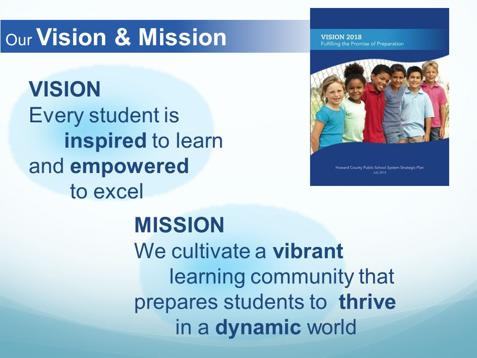 Our Vision & Mission VISION Every student is inspired to learn and empowered to excel MISSION We cultivate a vibrant learning community that prepares