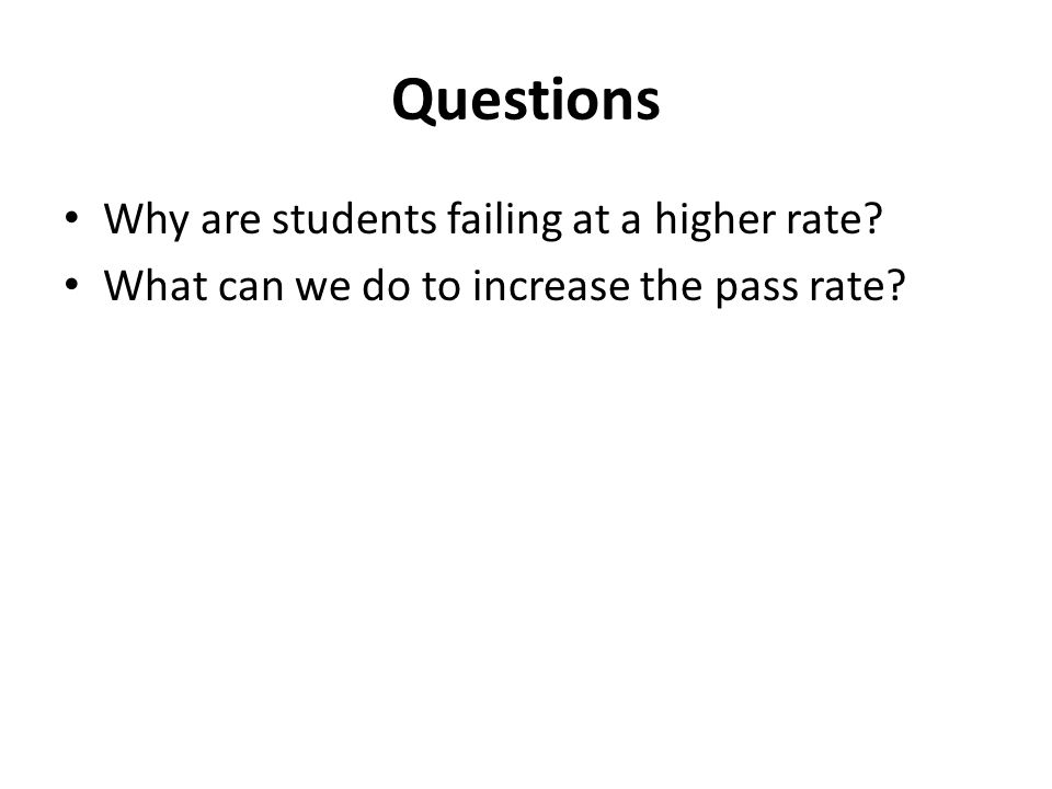 Questions Why are students failing at a higher rate What can we do to increase the pass rate