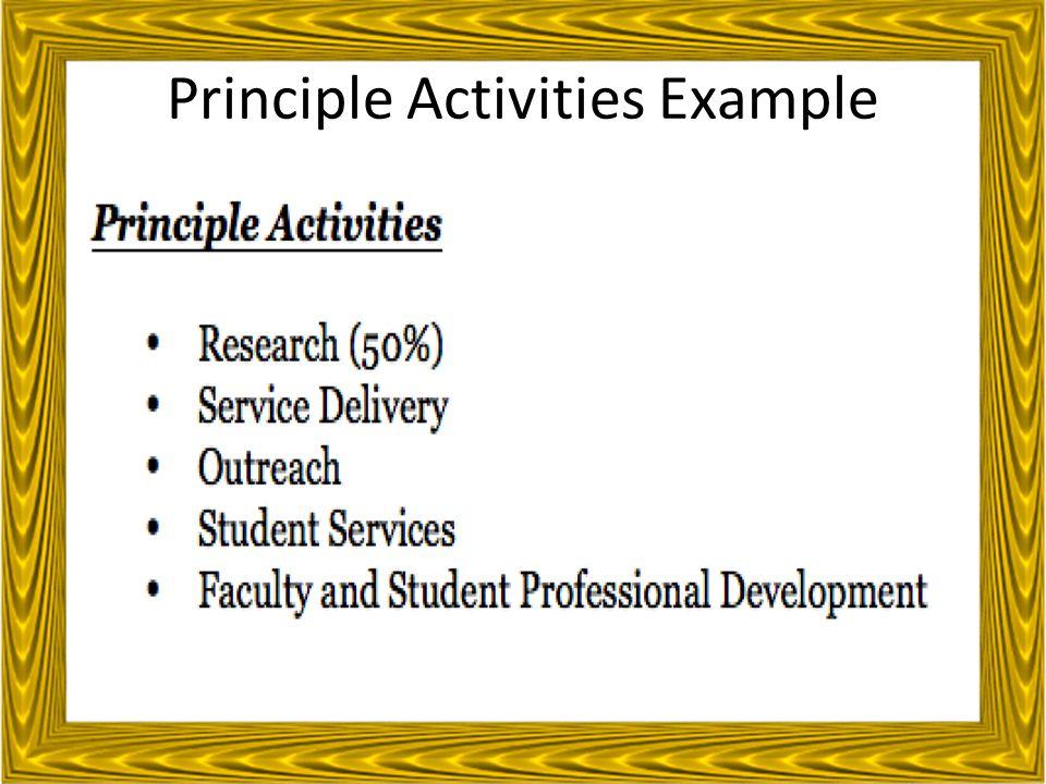 Principle Activities Example