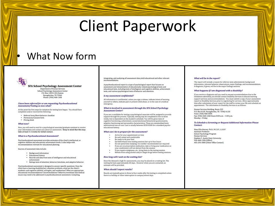 Client Paperwork What Now form