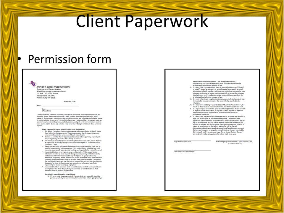 Client Paperwork Permission form
