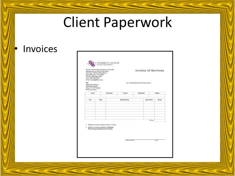 Client Paperwork Invoices