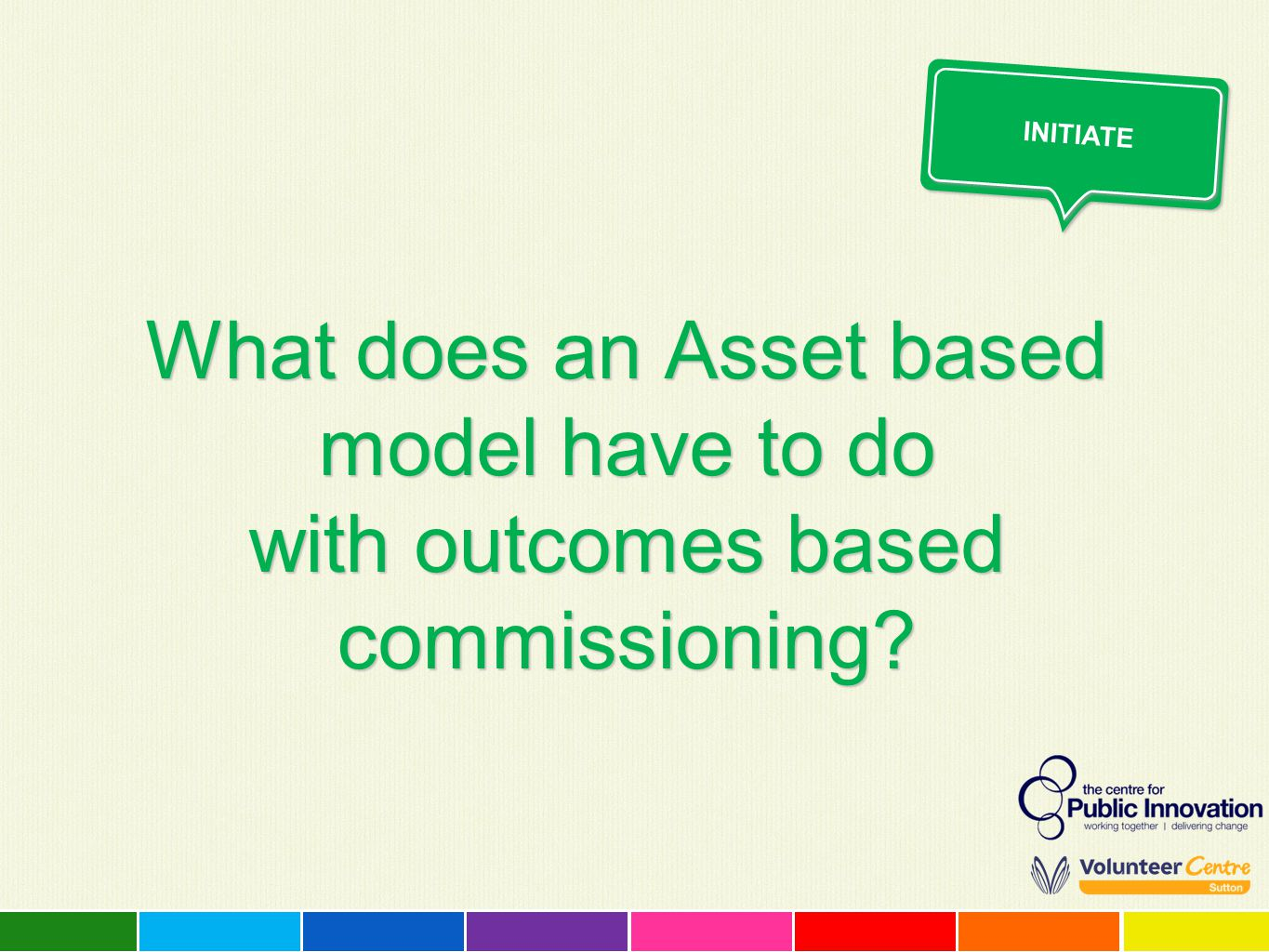 What does an Asset based model have to do with outcomes based commissioning? INITIATE