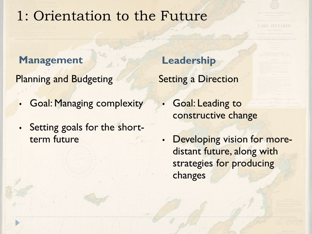 1: Orientation to the Future Management Leadership Planning and Budgeting Goal: Managing complexity Setting goals for the short- term future Setting a