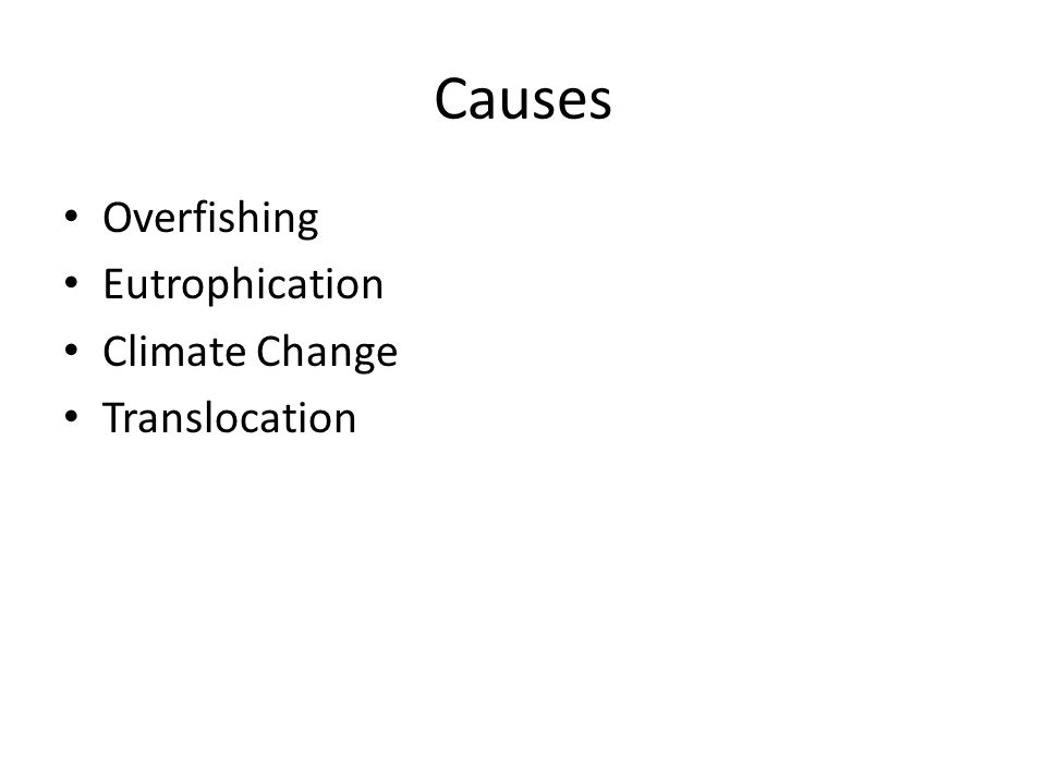 Causes Overfishing Eutrophication Climate Change Translocation
