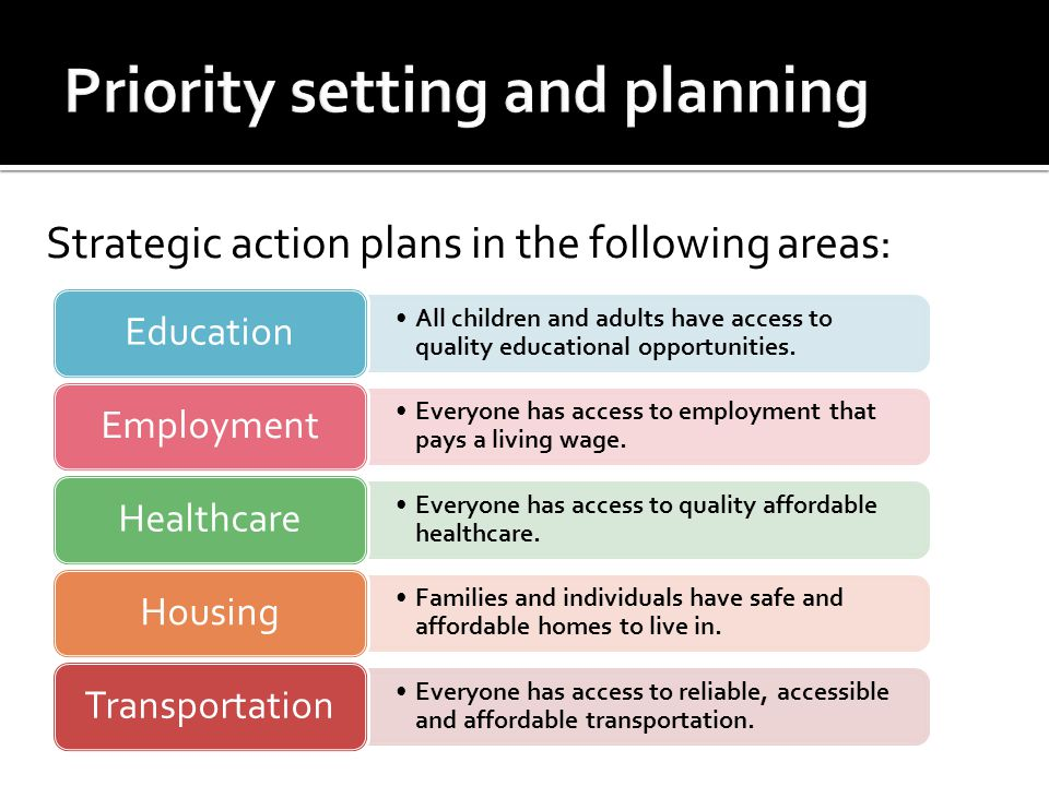 Strategic action plans in the following areas: All children and adults have access to quality educational opportunities.