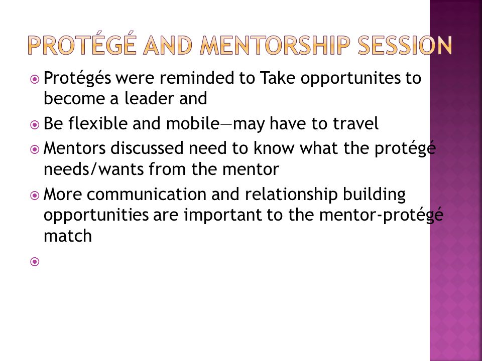  Protégés were reminded to Take opportunites to become a leader and  Be flexible and mobile—may have to travel  Mentors discussed need to know what the protégé needs/wants from the mentor  More communication and relationship building opportunities are important to the mentor-protégé match 