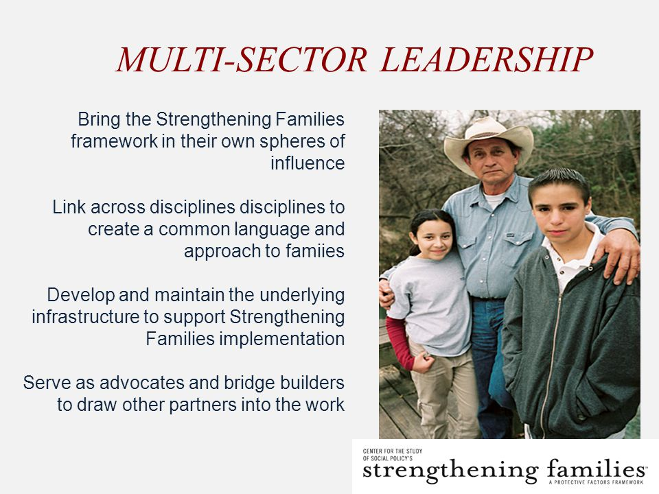 MULTI-SECTOR LEADERSHIP Bring the Strengthening Families framework in their own spheres of influence Link across disciplines disciplines to create a common language and approach to famiies Develop and maintain the underlying infrastructure to support Strengthening Families implementation Serve as advocates and bridge builders to draw other partners into the work