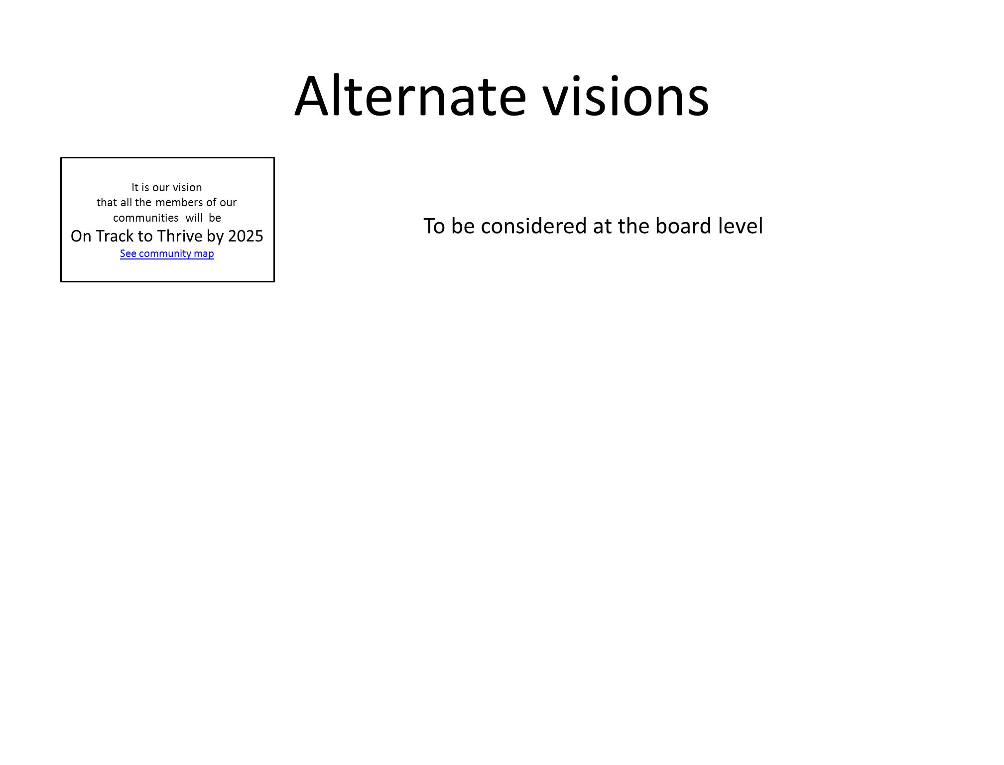 Alternate visions It is our vision that all the members of our communities will be On Track to Thrive by 2025 See community map To be considered at th
