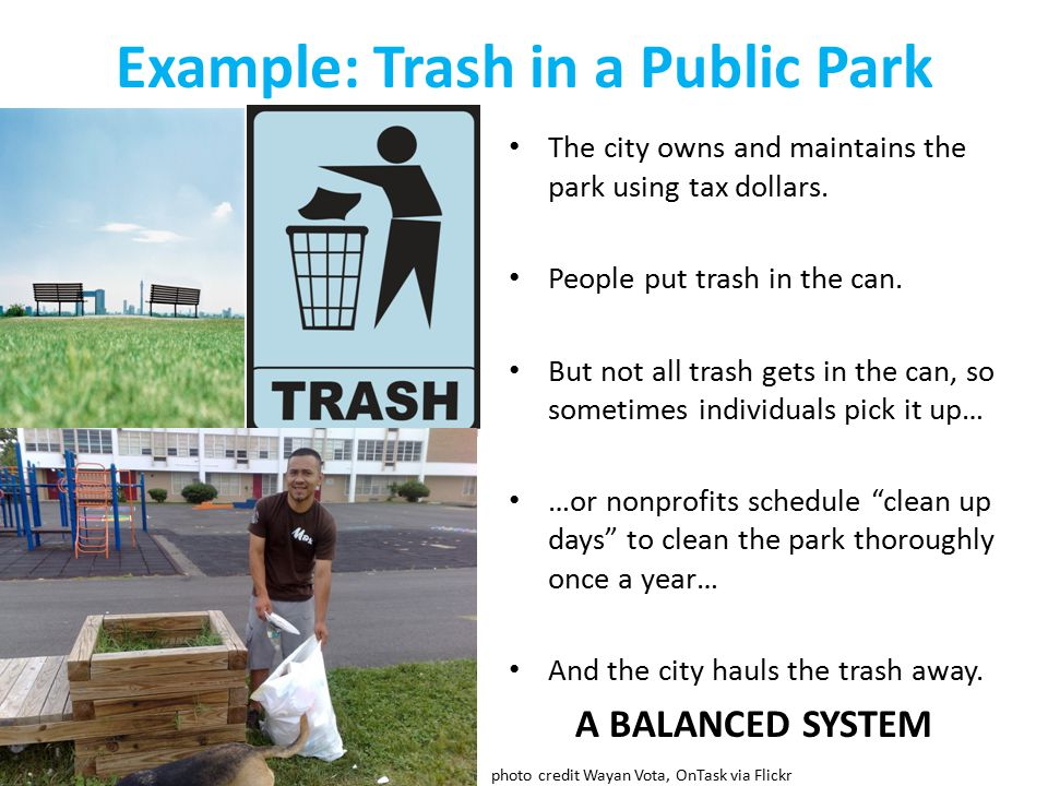 Example: Trash in a Public Park The city owns and maintains the park using tax dollars.