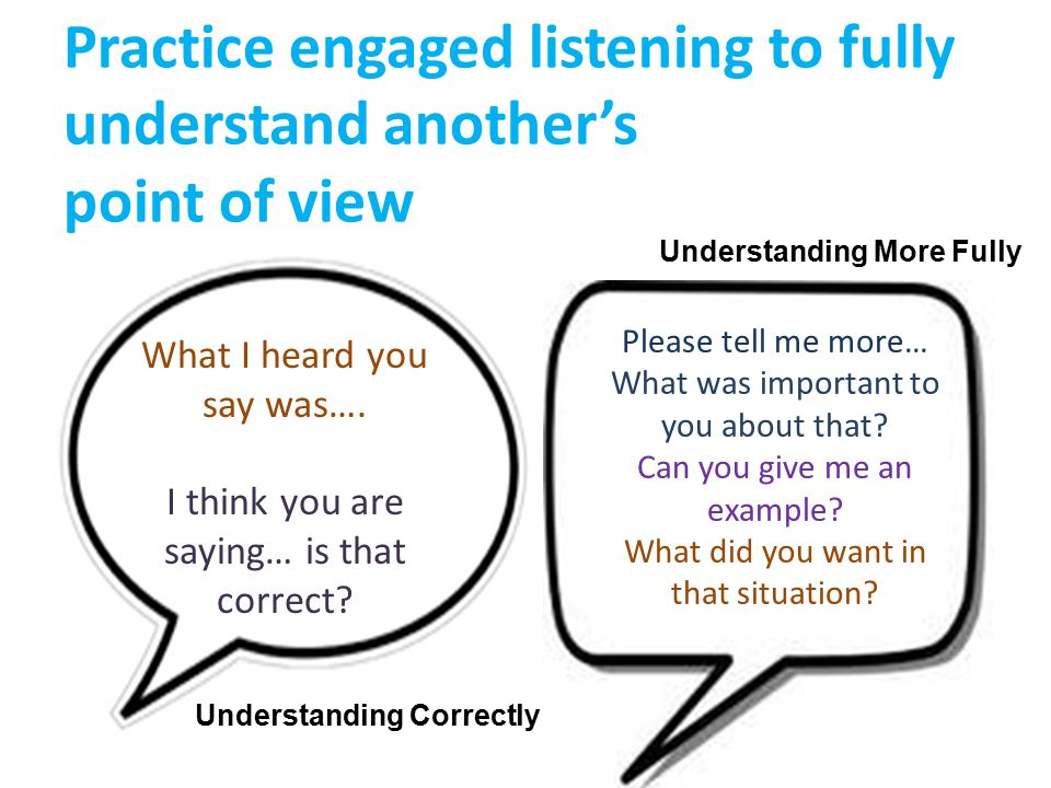 Practice engaged listening to fully understand another's point of view Understanding Correctly What I heard you say was….