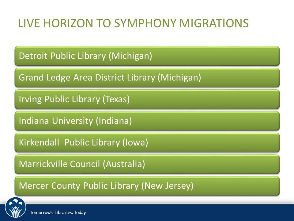 LIVE HORIZON TO SYMPHONY MIGRATIONS Detroit Public Library (Michigan)Grand Ledge Area District Library (Michigan)Irving Public Library (Texas)Indiana